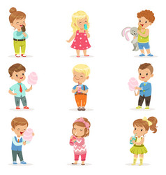 Set of little boys and girls drinking cocktails vector