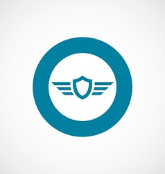 Shield wings icon bold blue circle border vector