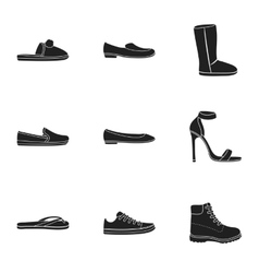 Shoes set icons in black style big collection vector