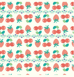 summer background with strawberries and cherries vector image