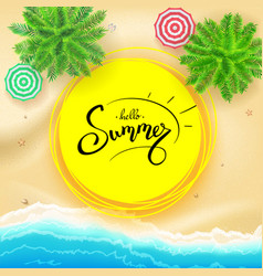 summer hand lettering on yellow sun hand drawn vector image