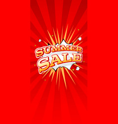 summer sale vertical banner typography design of vector image