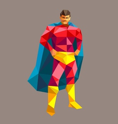 Superhero low polygon style vector image