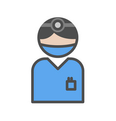 surgeon icon with blue uniform at the hospital vector image vector image