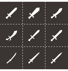sword icon set vector image