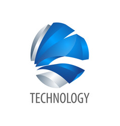 technology three dimensional style logo concept vector image