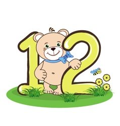 The number twelve and cheerful bear vector