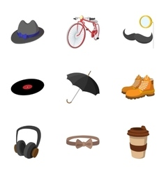Trendy hipsters icons set flat style vector