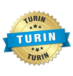 Turin round golden badge with blue ribbon vector