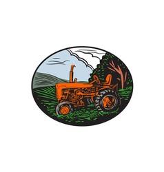 Vintage Tractor Farm Woodcut vector