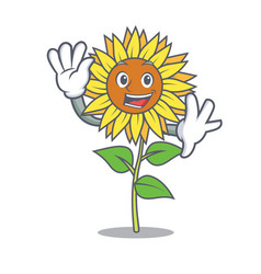 waving sunflower character cartoon style vector image