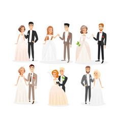 wedding couples flat set vector image