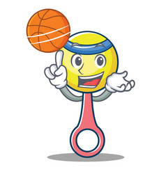 With basketball rattle toy character cartoon vector