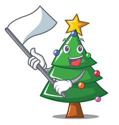 With flag christmas tree character cartoon vector