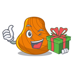 with gift hard shell mascot cartoon vector image