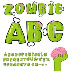 Zombie ABC Bones and brains horror monstr font vector image