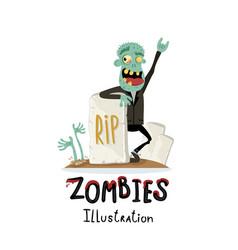 Zombie character near rip gravestone vector