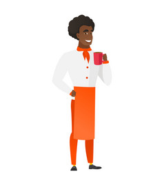 african-american chef cook holding cup of coffee vector image
