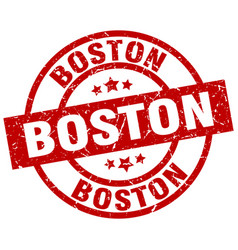 boston red round grunge stamp vector image vector image