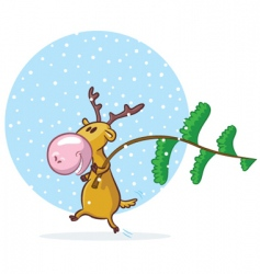 funny deer with pine tree vector image vector image