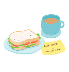 ham sandwich and hot coffee vector image vector image