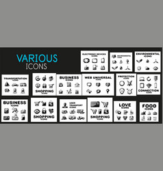 mega collection of black web icons vector image vector image