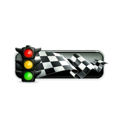 Racing banner with traffic lights vector image vector image