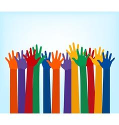 raising multi color hands vector image vector image