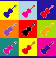 violine sign pop-art style vector image