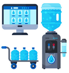 water delivery service different water bottle vector image vector image