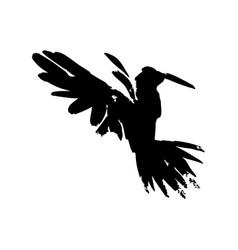 Watercolor crow hand drawn artistic blackbird vector