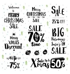 Christmas sale vintage text labels vector image