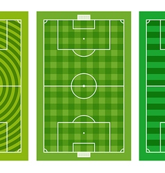 Different green football fields collection vector image