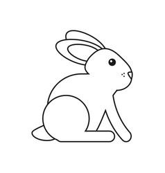 Easter bunny cute symbol thin line vector