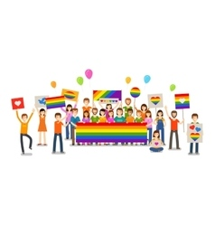 Gay parade People with placards Sexual vector image