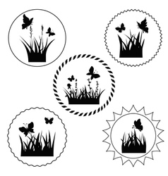 grass label vector image