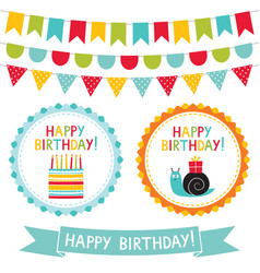 happy birthday set vector image vector image