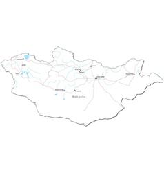 Mongolia Black White Map vector image vector image