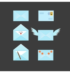 Set of six envelopes icons vector image