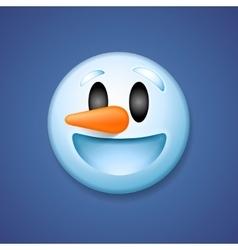 Snowman emoticon laughing holiday emoji smile vector image