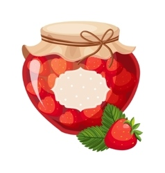 Sweet Strawberry Red Jam Glass Jar Filled With vector image