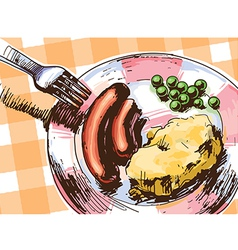 Two Sausages for a Lunch vector image