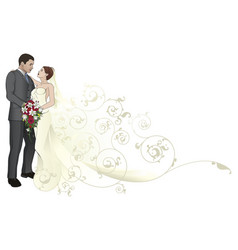 Bride and groom embracing background pattern vector