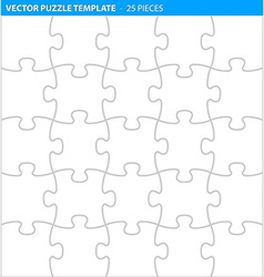 Complete puzzle jigsaw template 25 pieces vector image vector image