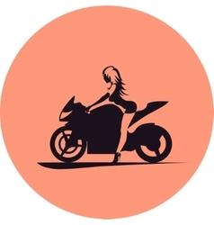 Girl on motorcycle vector image vector image