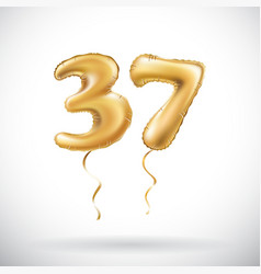 golden number 37 thirty seven metallic balloon vector image vector image