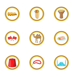 istanbul icons set cartoon style vector image