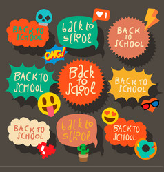 back to school set of speech bubbles stickers vector image