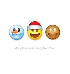 Holiday emoticon set icons Christmas emoji symbol vector image vector image