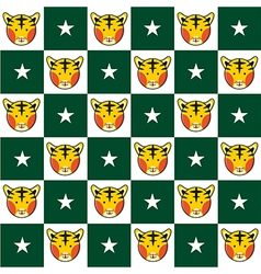 Tiger star green white chess board background vector